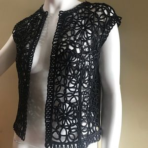 Handmade Ribbon Black Vest Small